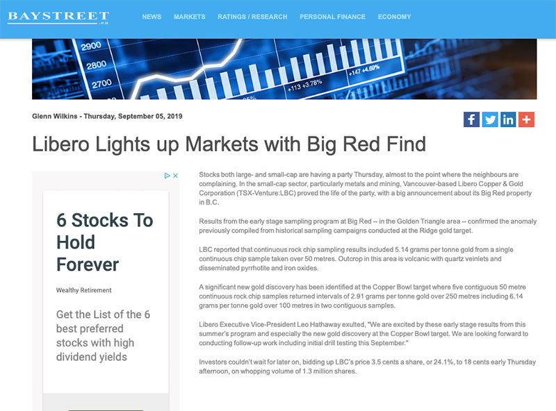 Libero Lights up Markets with Big Red Find